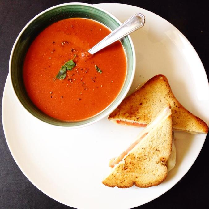 Tomato basil soup & grilled Swiss sandwich