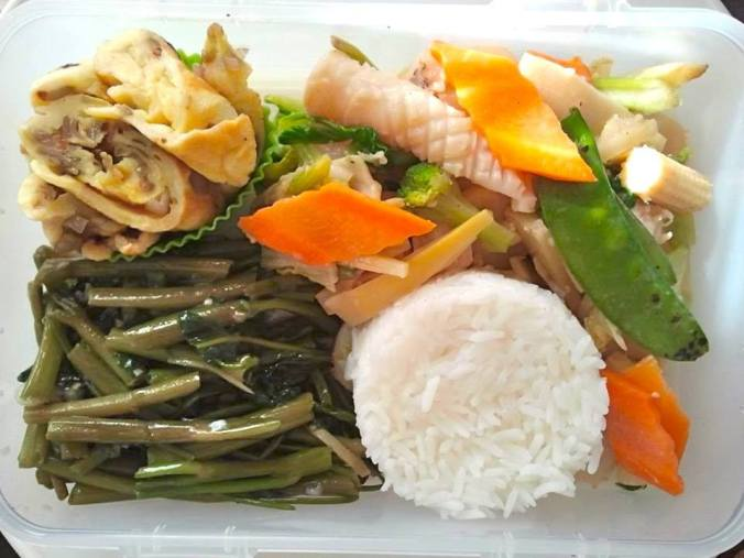 tamagoyaki_waterspinach_squid_rice